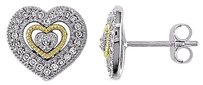 10k White Yellow Gold 16 Ct Diamond Stud Heart Love Stud Earrings Gh I2i3