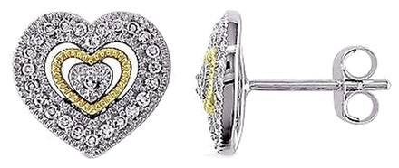 Other 10k White Yellow Gold 16 Ct Diamond Stud Heart Love Stud Earrings Gh I2i3