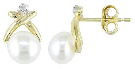 Other 10k Yellow Gold 5.5-6 Mm Pearl Diamond Stud Earrings 0.01 Cttw G-h I3