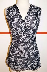 Sweet Pea Stacy Frati Grays Nylon Mesh Paisley Rusched Sleeveless Top 11263