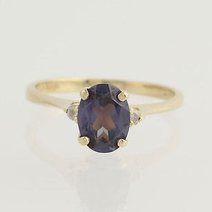 Synthetic Color Change Sapphire Ring 14k Yellow Gold Diamond Accents Oval 1.60ct