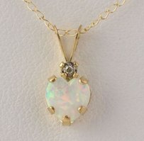 Synthetic Opal Heart Diamond Pendant Necklace - 10k Yellow Gold Chain 18