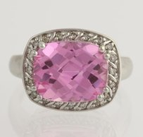 Synthetic Pink Sapphire Diamond Cocktail Ring - 10k White Gold Fine 6.60ctw