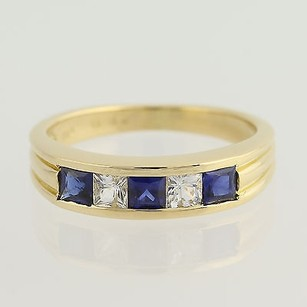 Synthetic Sapphire Cubic Zirconia Ring - 18k Yellow Gold September 34 -
