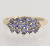Tanzanite Cluster Cocktail Ring - 14k Yellow Gold December 14 Genuine .75ctw