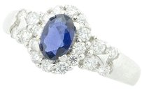 Tcw 1.0 18k White Gold Sapphire Diamonds Ring R178