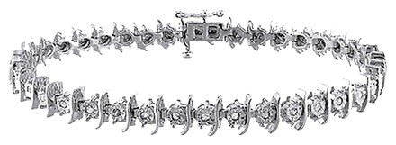Other Sterling Silver Diamond Tennis Bracelet 0.5 Ct H-i I3 7.25