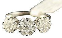 14k Wg Ladies 3 Stone Round Cut Diamond Ring 1.20 Ct