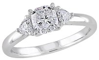 14k White Gold 1 Ct Cushion And Heart Love 3 Stone Diamonds Ring Gh I1i2