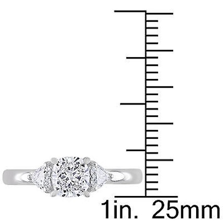 Other 14k White Gold 1 Ct Cushion And Heart Love 3 Stone Diamonds Ring Gh I1i2