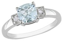 Other Sterling Silver Diamond And 45 Ct Tgw Aquamarine 3-stone Fashion Ring I3