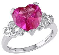 Sterling Silver Diamond And 4 15 Ct Created Pink Sapphire Heart Love Ring I2i3