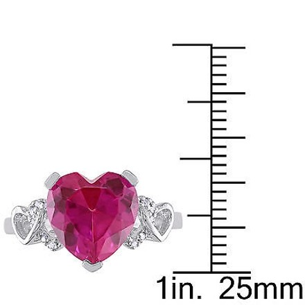 Other Sterling Silver Diamond And 4 15 Ct Created Pink Sapphire Heart Love Ring I2i3