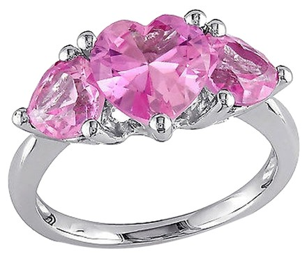 Other Sterling Silver 4 15 Ct Created Pink Sapphire 3 Stone Heart Love Fashion Ring