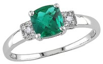 Sterling Silver Diamond And 1 Ct Tgw Emerald 3-stone Fashion Ring I3