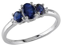Other 10k White Gold Diamond And 1 Ct Tgw Sapphire 3 Stone Ring Gh I2-i3