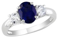 2 58 Ct Tgw Blue And White Sapphire 3-stone Fashion Ring In Sterling Silver
