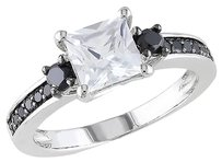 Other Sterling Silver 13 Ct Black Diamond Tw And 1 13 Ct Tgw White Sapphire Ring