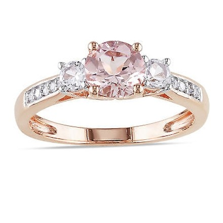 Other 10k Pink Gold Diamond And 1 17 Ct Morganite Created White Sapphire 3 Stone Ring