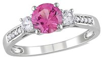 Other 10k White Gold Diamond And 1 38 Ct Pink Sapphire White Sapphire 3 Stone Ring