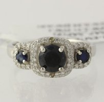 Other Three Stone Sapphire Ring - 925 Sterling Silver Band Cubic Zirconia Womens