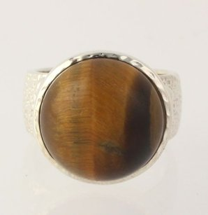 Other Tigers Eye Quartz Statement Ring - Sterling Silver Round Womens