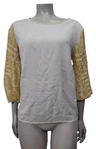 Other Staring At Stars Chiffon Gold Sequin 34 Sleeve Urban Outfitters Top Beige