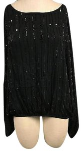 Other Embex Beaded Sequin Boat Neck Dolman Sleeve 4754a Top Black