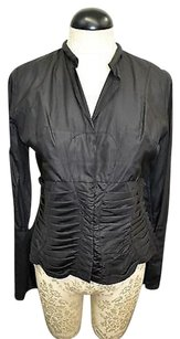 Paco Rabanne Silk Tucks Top Black
