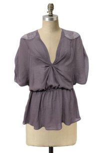 Other Remain Sheer Taupe Gathered Bust Lace Trim Hi Low Top Brown