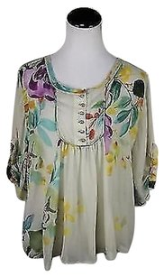 Other Pattersin J Kincaid Womens Yellow Floral Xsmall Shirt Top Multi-Color