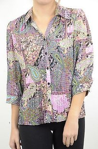Violin Pink Paisley Print 34 Top Multi-Color