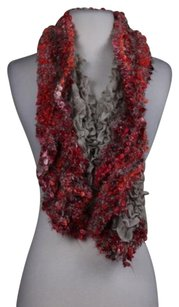 Torrente Womens Red Taupe White Scarf One Acrylic
