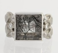 Other Tourmalated Quartz Diamond Cocktail Ring - 18k White Gold Genuine 6.96ctw