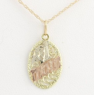 Other Tri-toned Gold Mothers Pendant Necklace 18 - 14k Yellow Rose Gold Gift