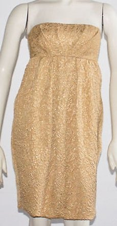 on sale Vera Wang Lavender Gold Metallic Floral Strapless Formal Dress 0 Hs1653 #16547941 -