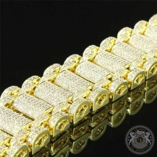 Tube Style Scroll Link 14k Yellow Gold Finish Simulated Diamond Mens Bracelet