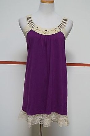 Fashion Spy Purple Beige Scoop Neck Lace Beads Sleeveless Tunic Dress 18478 #13972996 - Casual Dresses (Short) lovely