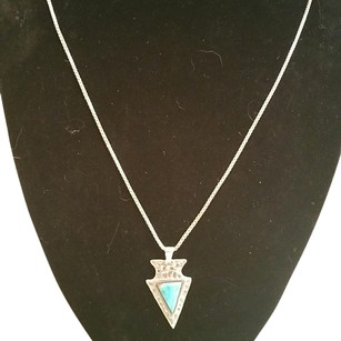 Turquoise and Sterling Silver Arrowhead Necklace