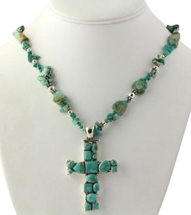 Turquoise Necklace Cross Pendant - Sterling Silver Womens Rough Reconstituted