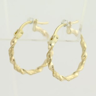 Other Twisted Hoop Earrings - 10k Yellow Gold Etched Textured Pierced