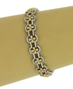 Two Tone 18k Gold 3.25 Carats Diamonds Ladies Dress Bracelet