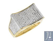 Two-tone Gold Finish Curved Rectangle Wide Diamond Pinky Exclusive Ring 0.50ct.