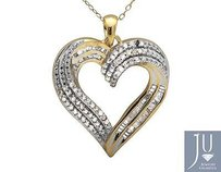 Other Two Tone Gold Finished Baguette Round Diamond 1 Heart Pendant 18 Chain 0.50ct