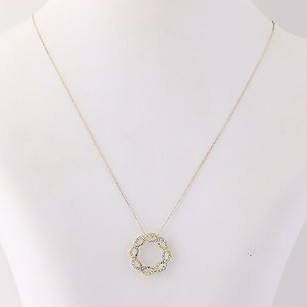 Two-toned Gold Wreath Pendant Necklace 14 - 10k Yellow White Gold Womens