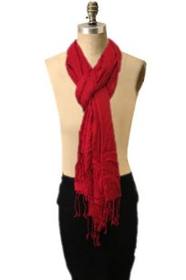 Unbranded Holiday Red Full Layering Piece Lengthy Feminine Soft Classic Scarf