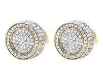 Unisex 10k Yellow Gold 3d Pave Set Genuine Round Diamond Stud Earrings 1.20ct