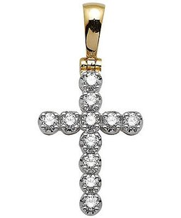 Unisex 10k Yellow Gold One Row Cross Genuine Diamond Pendant Charm 1.25ct 1.25