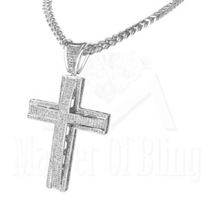 Unisex Fully Iced Out Double Dome Simulated Diamond Cross Pendant Franco Chain