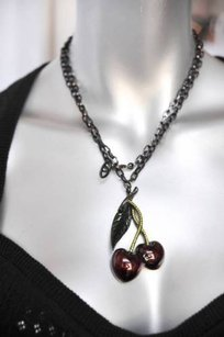 Valentino Metal Pave Crystal Cherry Pendant Necklace